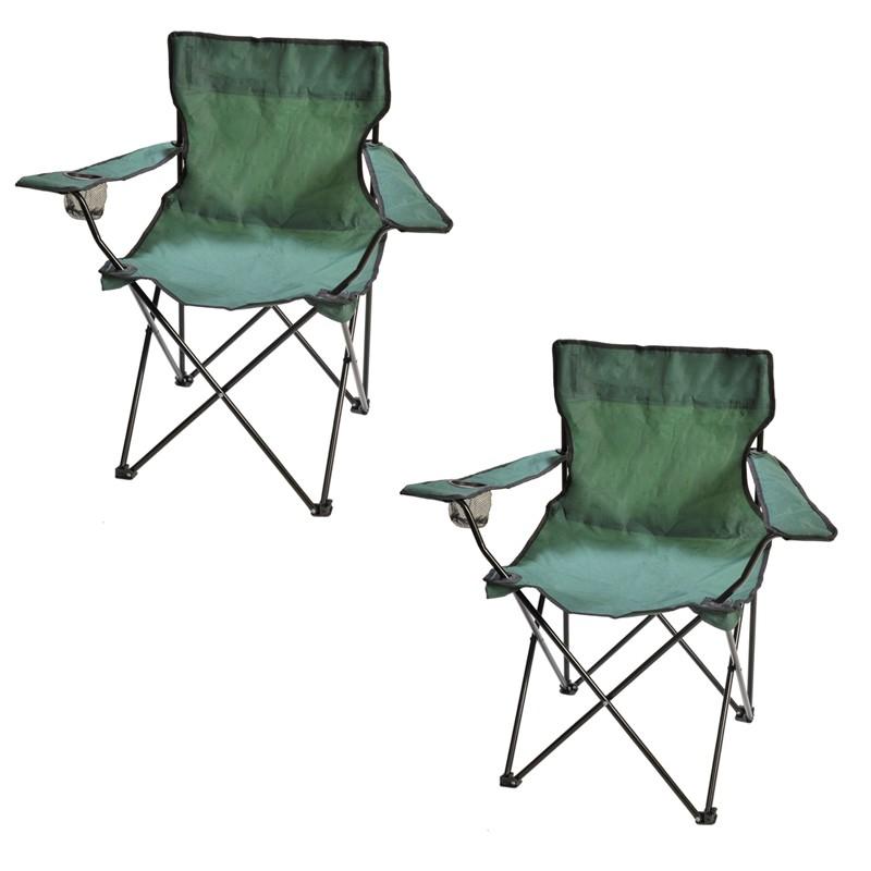 Fauteuil de camping pliable vert Lot de 2