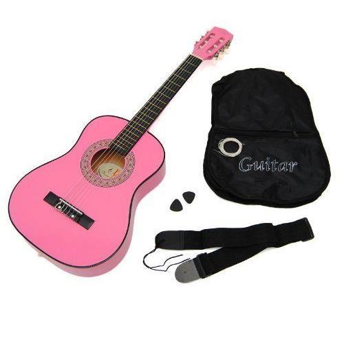 Ts ideen 5253 Guitare acoustique 1/2 pour enfant de 6 à 9 ans Rose