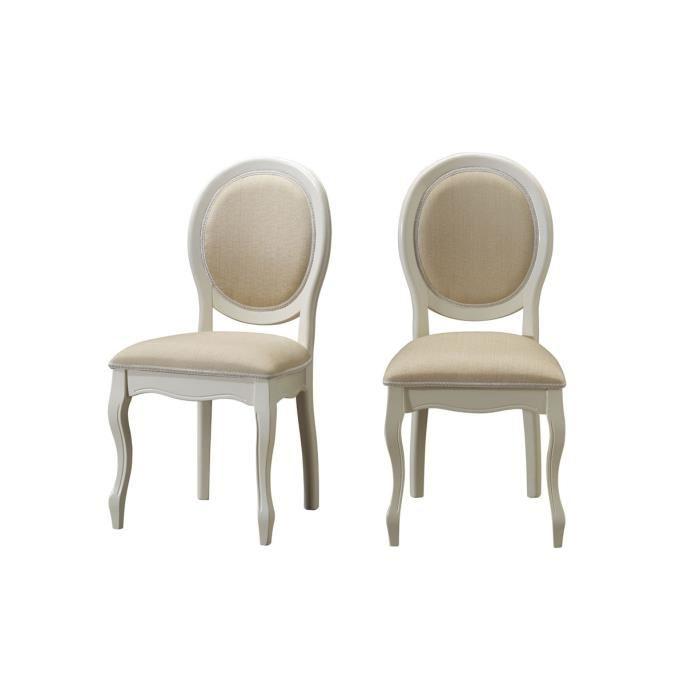 chaise medaillon en tissu lot de 2 ecru fiona