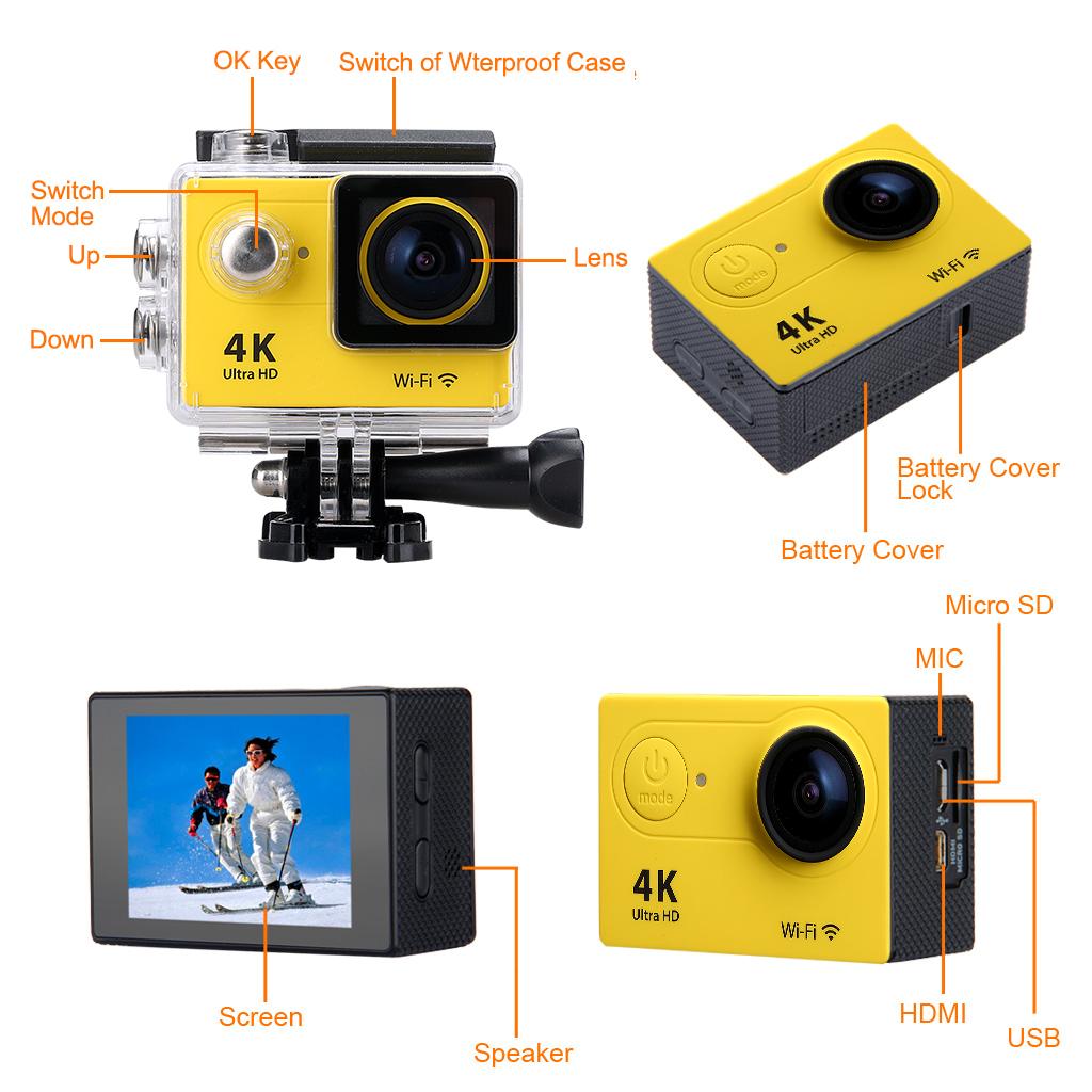 Caméra Pro Cam Sport WiFi 4K Ultra HD 1080p 12MP Caméscope Etanche