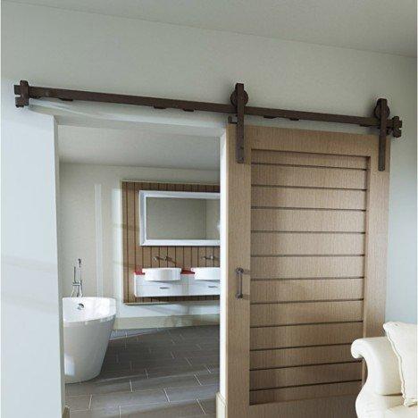 Rail coulissant et habillage acier Cottage, pour porte de largeur 93
