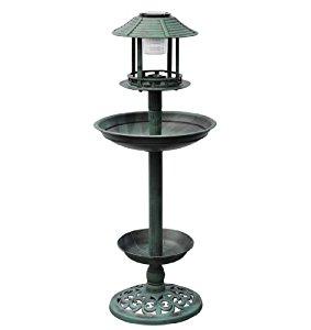 Fontaine jardin bain d'oiseaux verte avec lampe solaire abreuvoir