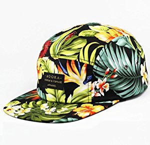 Agora Hibiscus Flower 5 Panel Cap Casquette: Sports et
