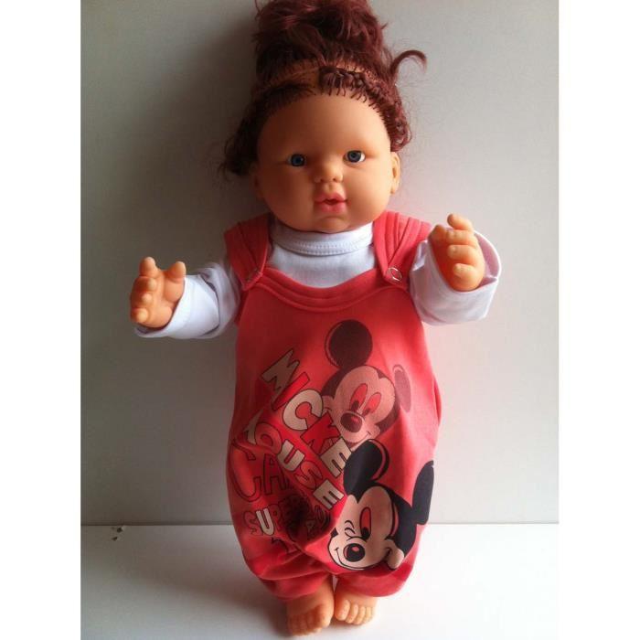 Ensamble 2 pièces salopette pull bébé fille 0 6 mois Mickey Mouse