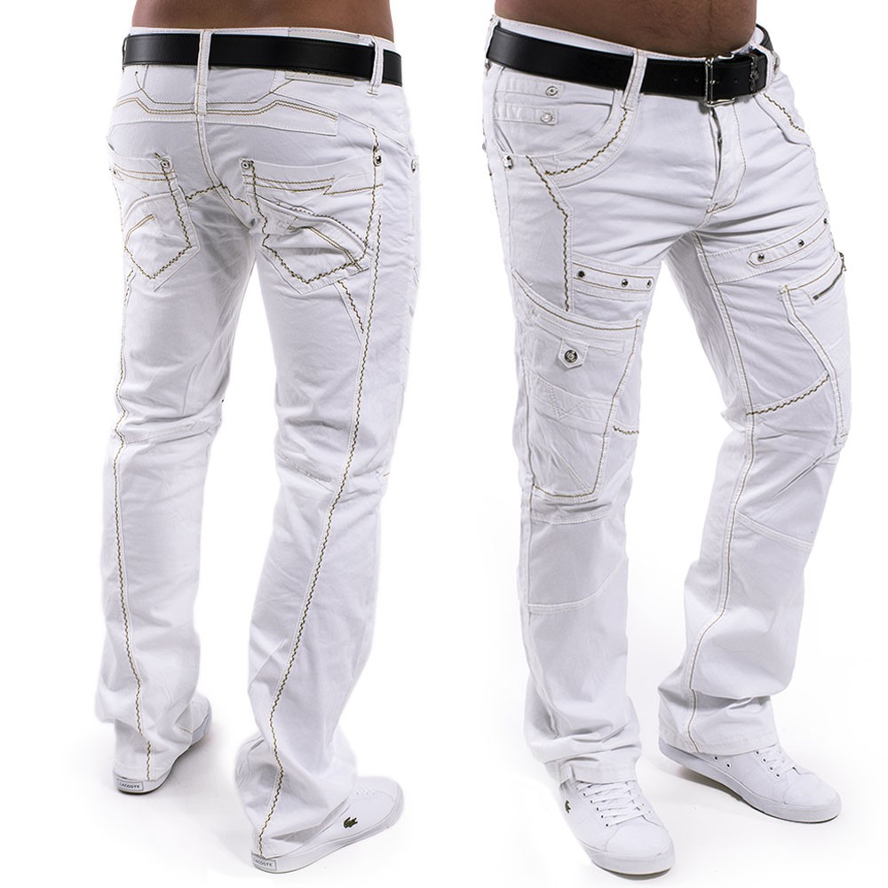 sur Pantalon Jeans vintage homme coupe regular Loup blanc Destroyed