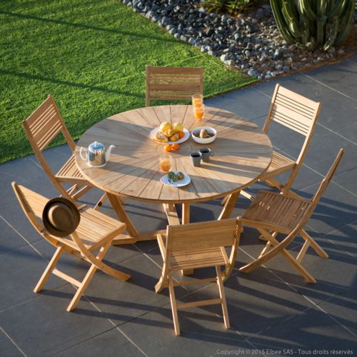 Salon de jardin 6 places en teck brut : table ronde 140cm + 6 chaises