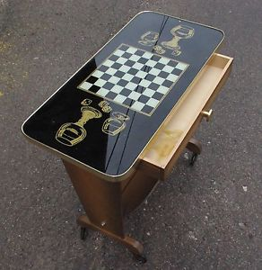 GUERIDON SELLETTE TABLE D'APPOINT JEUX ECHECS DAMES PORTE REVUES KITCH
