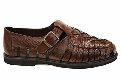Sandales homme look rétro cuir tressé marron UK12 EU46