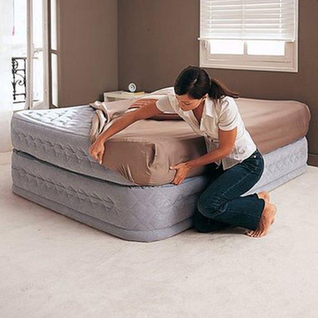 Lit d?appoint gonflable, confort suprême, 2 person gris Intex   La