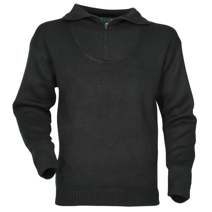 Pull en laine noir col camionneur Noir Noir Achat / Vente sweat