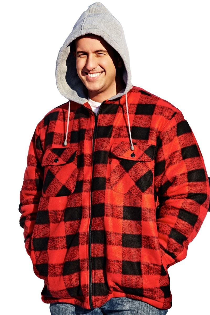 Sherpa pour homme à capuche en polaire carreaux flanelle