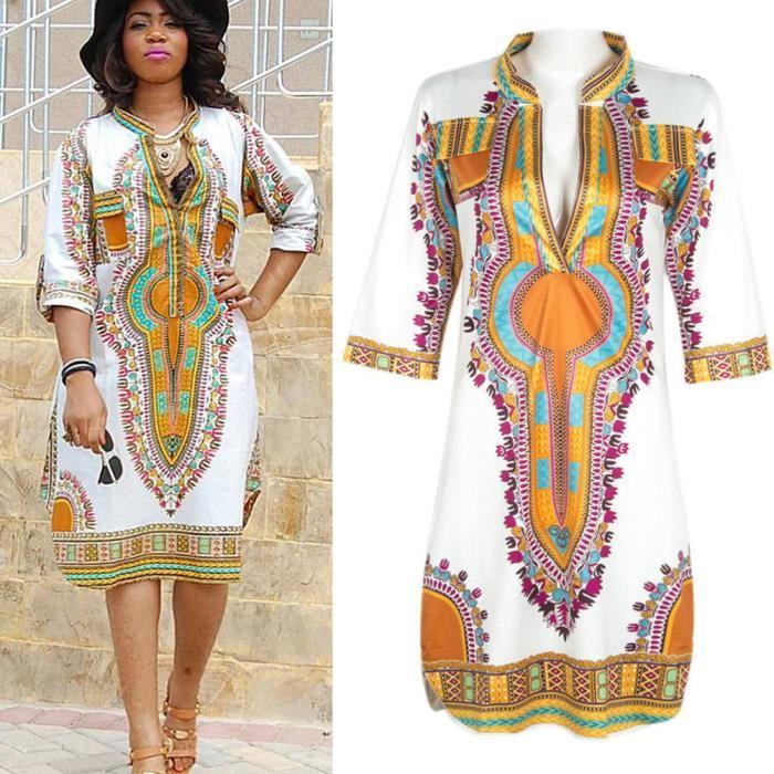 robe d?été impression africaine Sexy V Neck blanc Achat / Vente