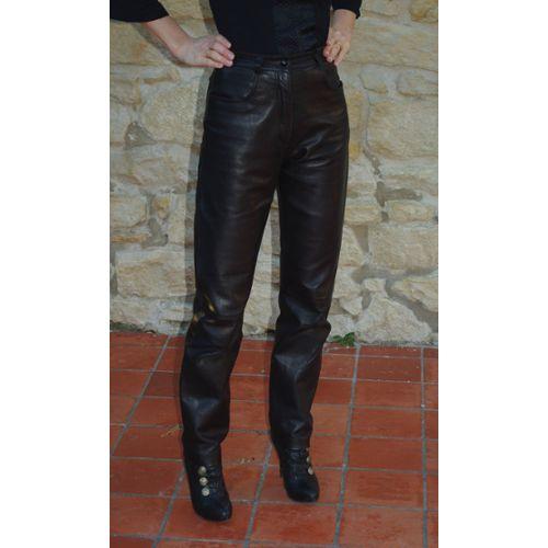 Pantalon Cuir Femme Noir Coupe Droite Achat et vente