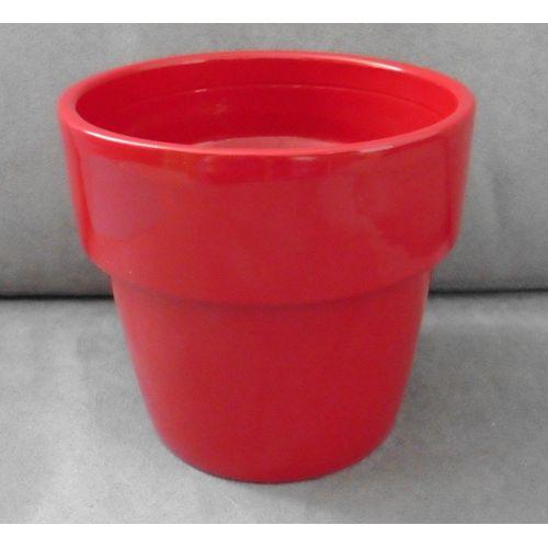 Cache Pot Terre Cuite Peinte Rouge Sombre Brillant. Pot De Fleur. 13,5