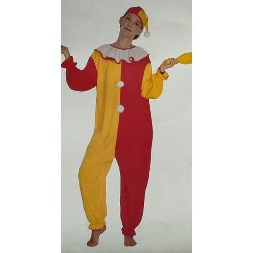 Costume Clown Déguisement Adulte Femme Rouge Orange Blanc Taille