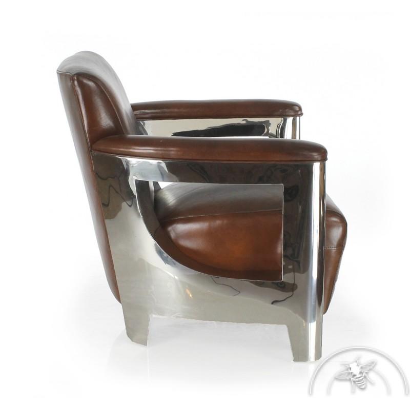 Fauteuil club cuir marron vintage Iéna