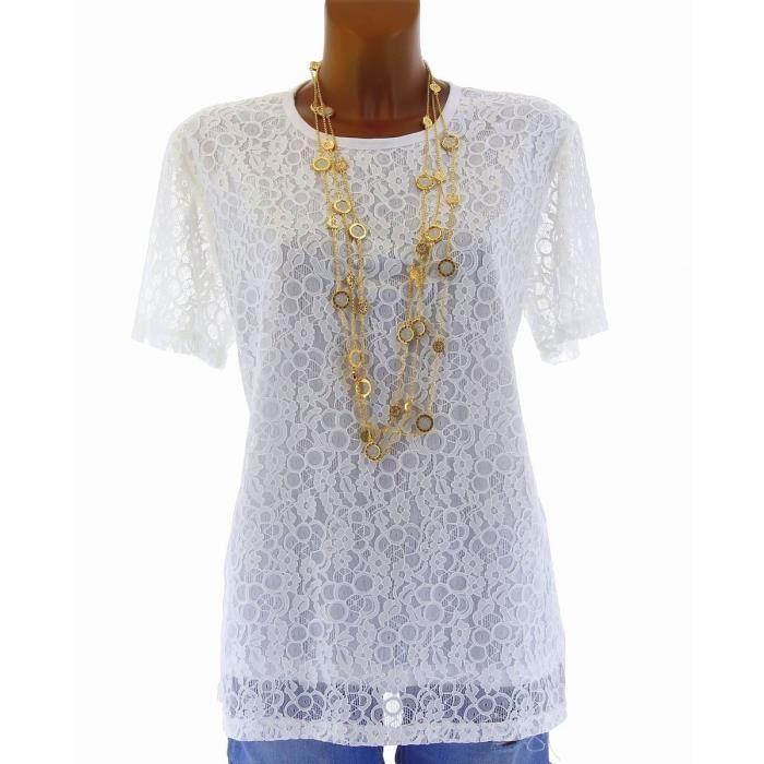 Tunique T shirt Chemisier CAROLE Femme BLANC Achat / Vente