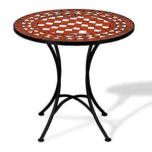 Table guéridon mosaïque et fer forgé rouge et blanc