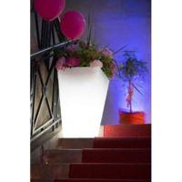 Pot ou vase lumineux rectangulaire intérieur extérieur Kiwi blanc, H