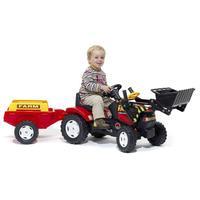 tracteur a pedales avec pelle frontale et remorque