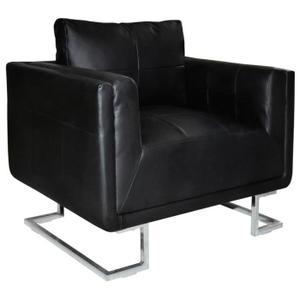 FAUTEUIL vidaXL Luxueux Fauteuil Cube en cuir Noir.