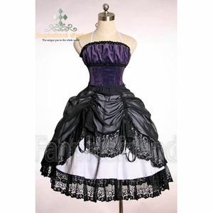 Robe corset noire à baleines vintage, Lolita Troubadour Version