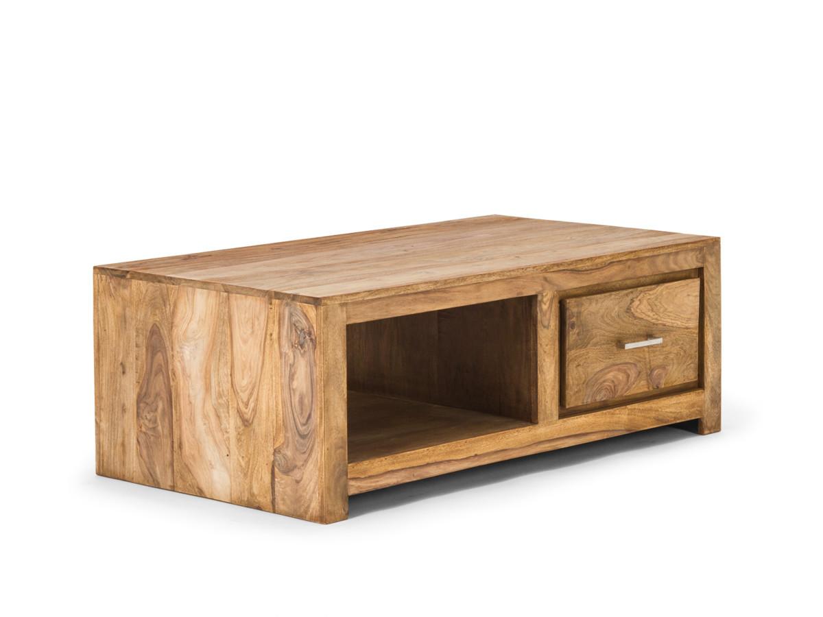 Table Basse 118×65 CM 1 Tiroir Palissandre Bois Massif Meuble Salon