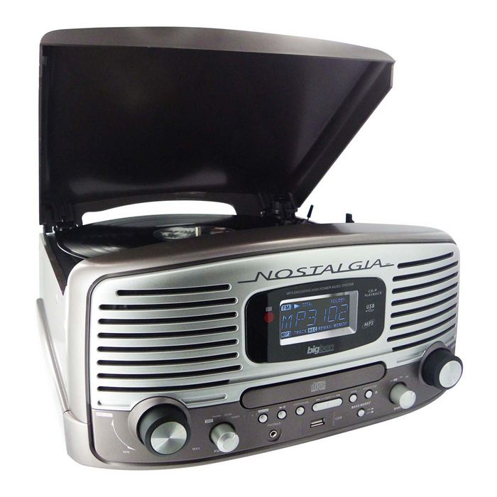 TOURNE DISQUES RADIO CD ENCODEUR MP3 TAUPE TD82TMS Tourne disques 3