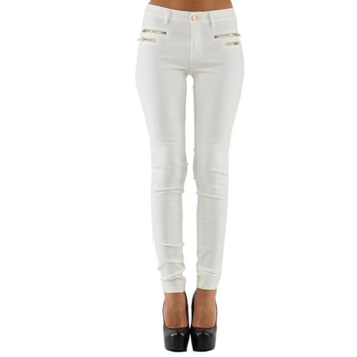JEAN FEMME BLANC ENDUIT Blanc Achat / Vente jeans