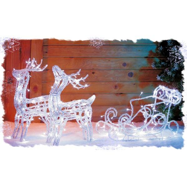decoration de noel exterieur solaire #14: traineau avec 2 rennes