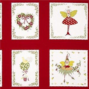 Tissu Michael Miller rouge patchwork lutins fées Noël