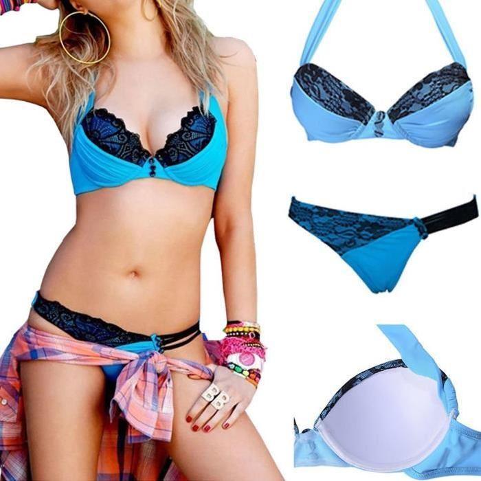 Maillot de bain Sexy Women Push up Padded Halter Lace Bikini Bleu