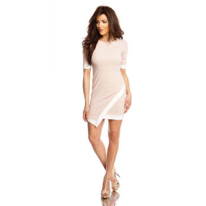 Robe ceintrée asymétrique rose pâle Rose Achat / Vente robe