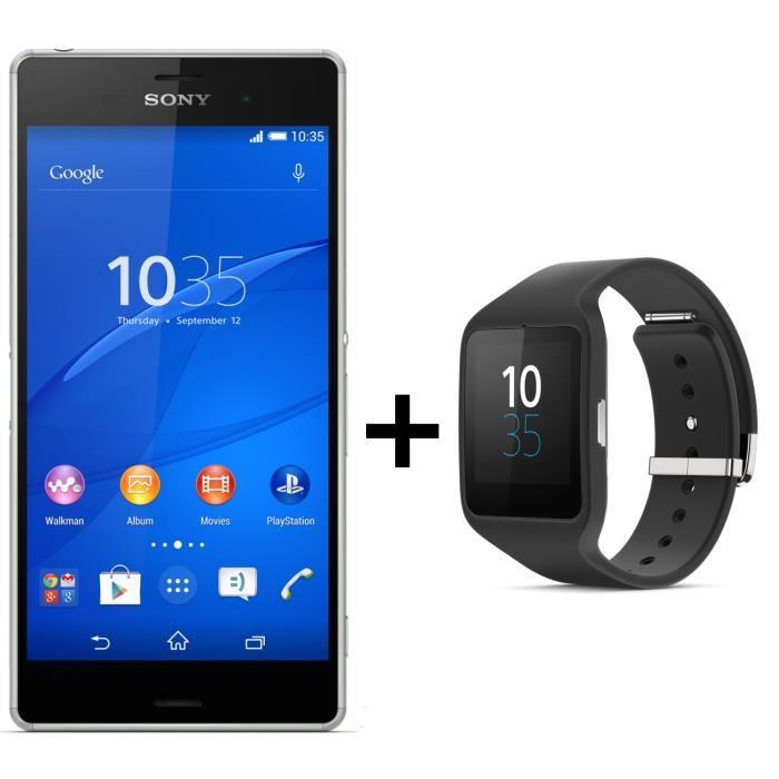 Sony Xperia Z3 Vert + Smartwatch 3 Noir smartphone, prix pas cher