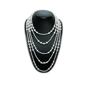 Blue Pearls Collier Sautoir 300 cm en Perles de culture blanches BPS