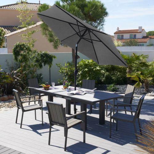 Salon de jardin aluminium 6 places topiwall - Salon jardin aluminium composite ...