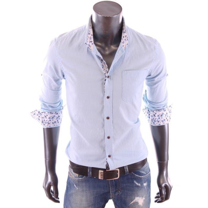 carisma chemise en lin slim fit bleu ciel homme manches longues 8236
