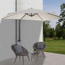 , parasol déporté pour balcon ou terrasse, 3m inclinable ~ crème