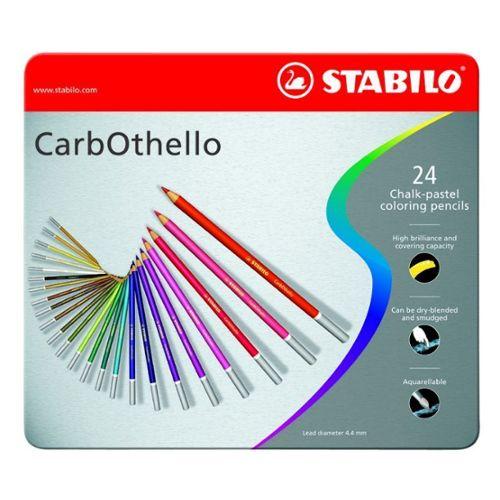 Crayon De Couleur Stabilo Carbothello Boîte Métal De 24 Crayons De
