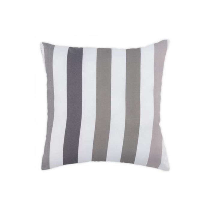 Coussin 40×40 cm Rayé Multicolore Blanc Gris Achat / Vente coussin
