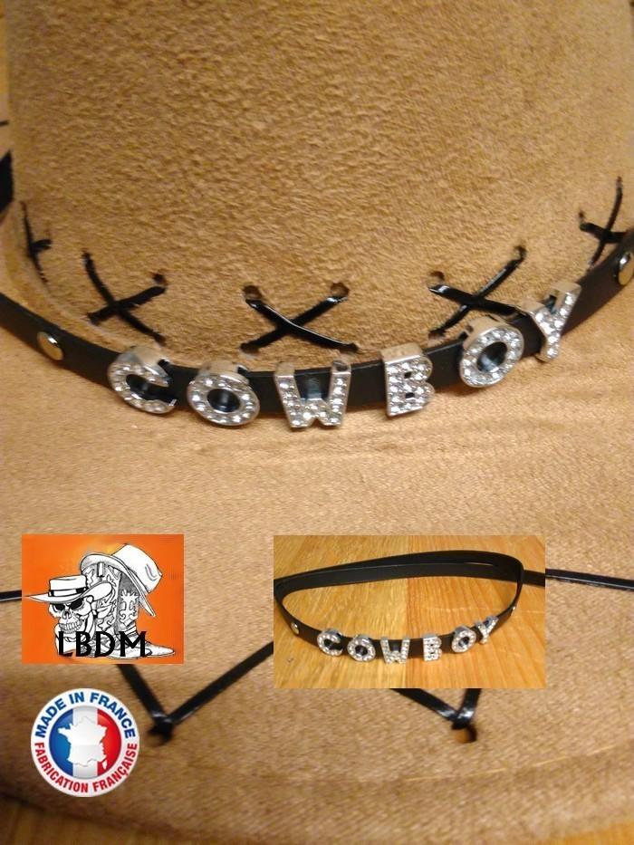 Tour de chapeau cuir country western cowboy indien conchas 170/79