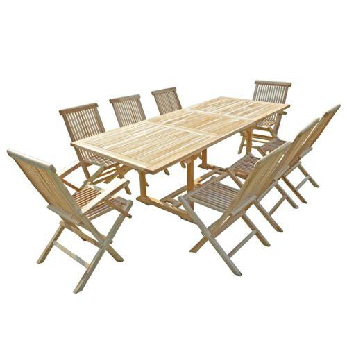 salon de jardin en teck Amara 6 chaises 2 fauteuils Naturel 8 places