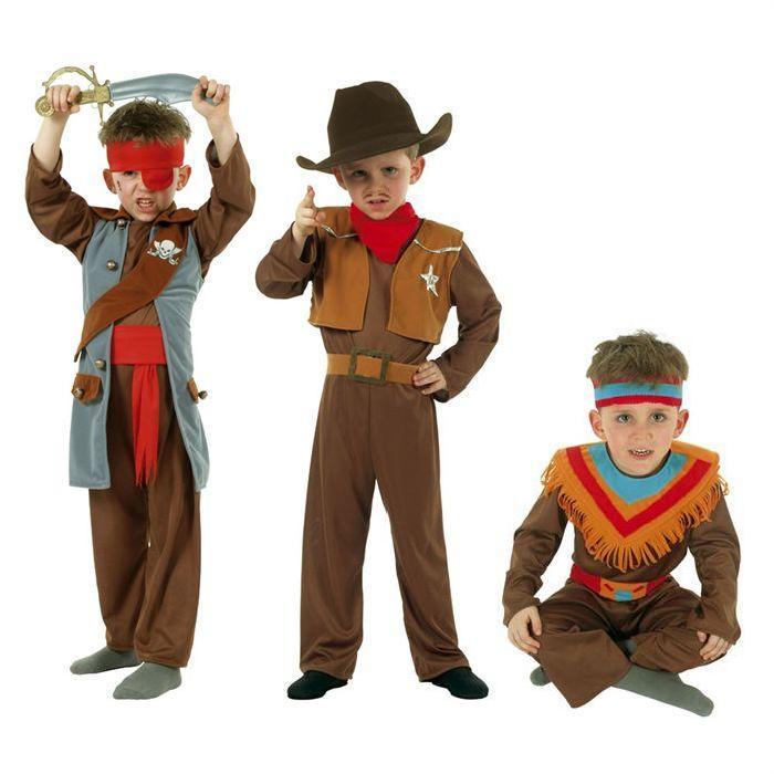 César Costume 3 en 1 garçon Cow Boy/Indien/Pirate Achat / Vente