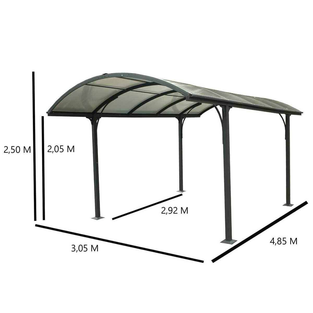 Carport Carport Aluminium Toit 1/2 Rond Anthracite 14.80 m²