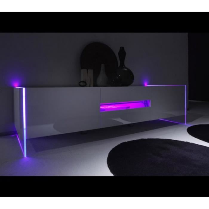 tv blanc laque design led multicolores Achat / Vente meuble tv