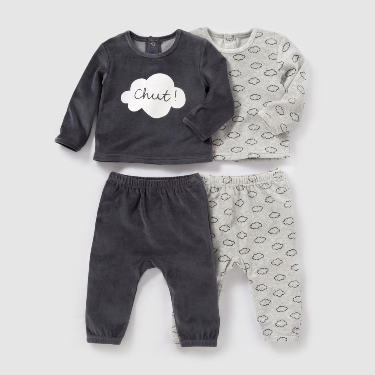 Pyjama 2 pièces velours (lot de 2) 0 mois 3 ans R Baby