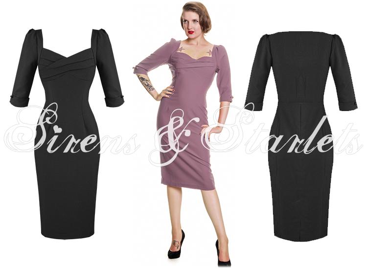 Robe Droite Moulant Collectif Rizzo Noir Vintage Annees 1950 Manche 3