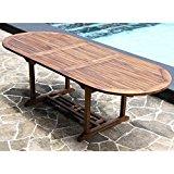 Table de jardin ovale en bois de teck huilé 8/10 pers larg 100cm long
