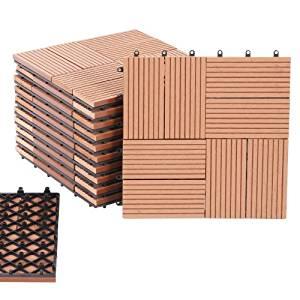 Caillebotis/dalles de terrasse, bois composite, 11 dalles, 1m², motif