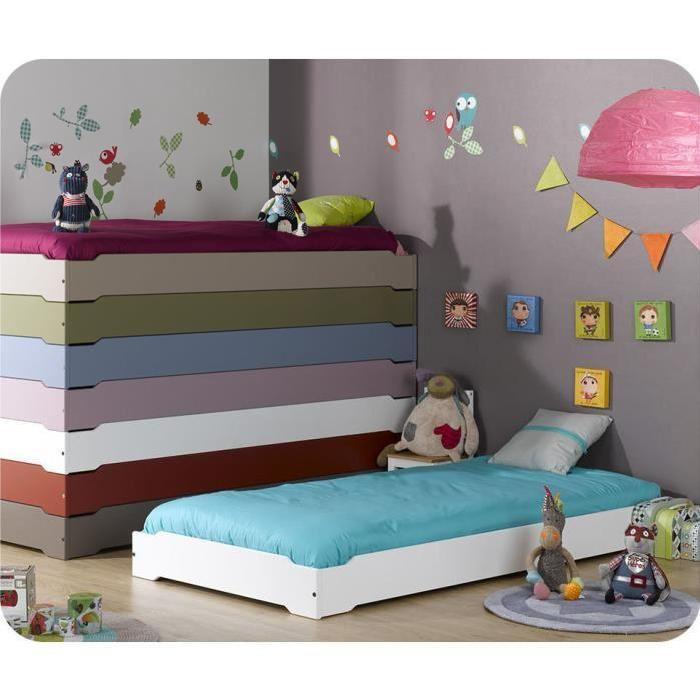 Lit Enfant Empilable Blanc 90×190 cm avec sommier Achat / Vente lit